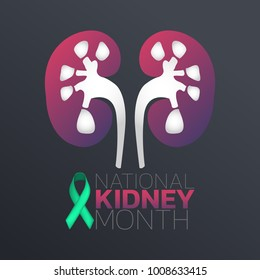 National Kidney Month icon design, infographic health. Vector illustration.
