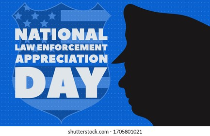 NATIONAL LAW ENFORCEMENT APPRECIATION DAY (L.E.A.D.). January 9. Poster, card, banner, background, T-shirt design. Vector ilustration. EPS 10