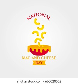 National Macaroni and Cheese Day Vector Illustration. Suitable for poster, banner, campaign, and greeting card