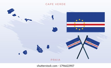 National map of Cape Verde, Vector flag of Cape Verde, Cape Verde map, illustration flag size vector of Cape Verde.