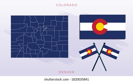 National map of Colorado, Vector flag of Colorado, Colorado map, illustration flag size vector of Colorado.