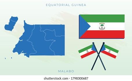 National map of Equatorial Guinea, Vector flag of Equatorial Guinea, Equatorial Guinea map, illustration flag size vector of Equatorial Guinea.