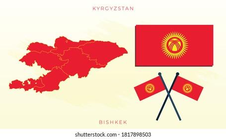 National map of Kyrgyzstan, Vector flag of Kyrgyzstan, Kyrgyzstan map, illustration flag size vector of Kyrgyzstan.