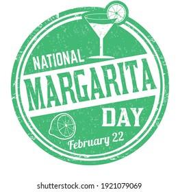 National margarita day grunge rubber stamp on white background, vector illustration