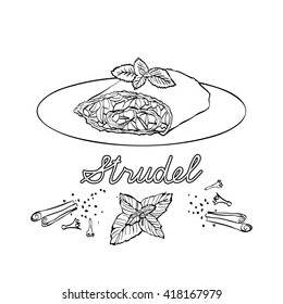 National meal  vector. German traditional cuisine.Illustration of strudel with a mint leaf on the plate.  Hand drawing. Black and white linear graphic.