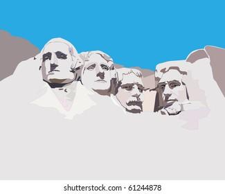 National memorial Mountain Rashmor against the blue sky