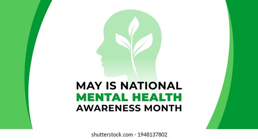 National mental health awareness month. Vector web banner for social media, poster, card, flyer. Text National mental health awareness month, May. Human head, mental concept on white background.