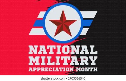 National Military Appreciation Monat im Mai. Feiert jeden Mai und ist eine Erklärung, die US-Bürger ermutigt, den Monat in einem Symbol der Einheit zu beobachten. Design für Social-Media-Banner. Vektorillustration
