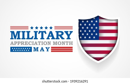 National Military Appreciation Month (NMAM) is celebrated every year in May and is a declaration that encourages U.S. citizens to observe the month in a symbol of unity. Vector illustration