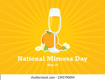 National Mimosa Day vector. Glasses of champagne with orange vector illustration. Mimosa vector illustration. Mixed drink with orange juice