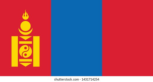 National Mongolia flag, official colors and proportion correctly. National Mongolia flag. Vector illustration. EPS10. Mongolia flag vector icon, simple, flat design for web or mobile app.