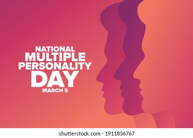 National Multiple Personality Day. March 5. Holiday concept. Template for background, banner, card, poster with text inscription. Vector EPS10 illustration - Shutterstock ID 1911836767