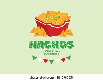 National Nachos Day vector. Mexican nachos corn tortilla with cheese and peppers icon vector. Nacho chips in a box vector. Nachos Day Poster, November 6. Important day