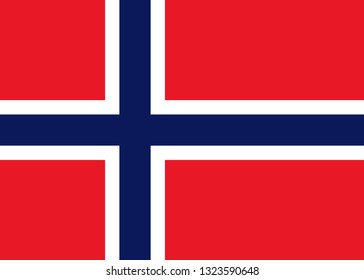 National Norway flag. Europe country. Vector eps10