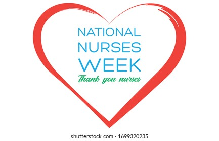 National Nurses Week begins each year on May 6th and ends on May 12th. Medical, healthcare concept. Poster, card, banner, background design. Vector illustration eps 10.