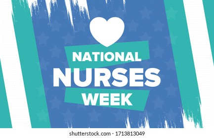 National Nurses Week. Thank you nurses. Medical and health care concept. Fighters against viruses and diseases. In honour of the doctors. Celebrated annual in United States. Vector illustration poster