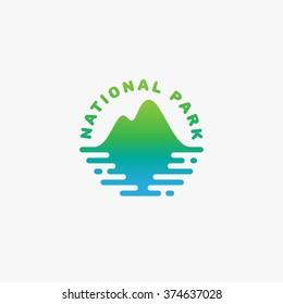 National park logo template design. Vector illustration.