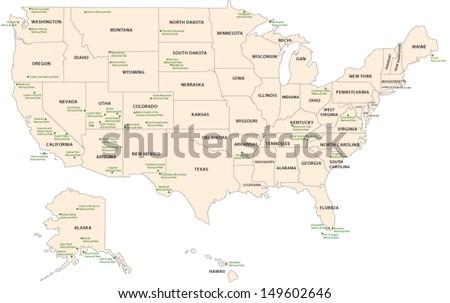 National Park Map USA Stock Vector (Royalty Free) 149602646 ...