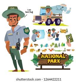 National Park Service employees or staff, Forest officer character set. Park Ranger. Forest ranger. forest service- vector illustration