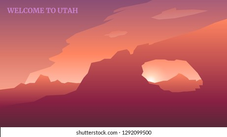 National Park Welcome to Utah State Vector Landscape Art Design Illustration Background
