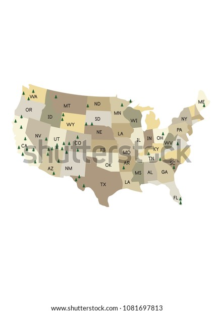 National Parks On United States Map | Royalty-Free Stock Image