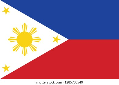 National Philippines flag, official colors and proportion correctly. National Philippines  flag. Vector illustration. EPS10. Philippines flag vector icon, simple, flat design for web or mobile app.