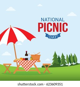 National Picnic Day Vector Illustration. Suitable for Greeting Card, Poster and Banner.