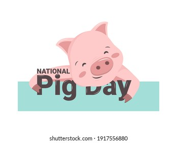 National pig day. Pink swine with a heel and a tail hugs a festive inscription. Cute funny animal. Spring March holiday symbol. Flat vector graphics