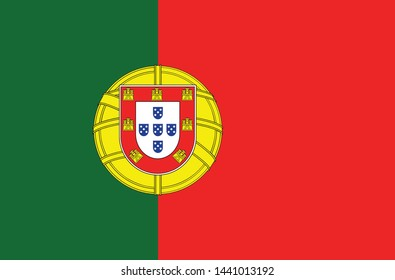 National Portugal flag, official colors and proportion correctly. National Portugal flag. Vector illustration. EPS10. Portugal flag vector icon, simple, flat design for web or mobile app.
