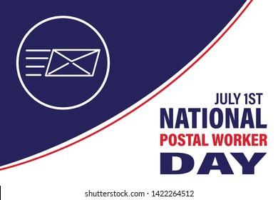 National Postal Worker Day on July 1st. Vector Illustration. Poster, card, banner, background design. Vector illustration eps 10.