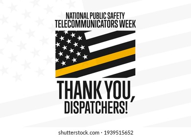 National Public Safety Telecommunicators Week. Second Week in April. Holiday concept. Template for background, banner, card, poster with text inscription. Vector EPS10 illustration