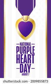 National Purple Heart Day. August 7. Holiday concept. Template for background, banner, card, poster with text inscription. Vector EPS10 illustration
