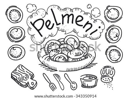 national russian dish pelmeni stock vector royalty free 343350914  national russian dish pelmeni