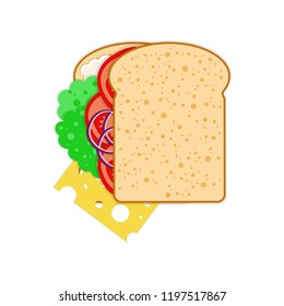 National Sandwich Day. 3 November. The concept of food holiday in the United States. Veggie sandwich - bread, cheese, tomatoes, lettuce, onion, sauce