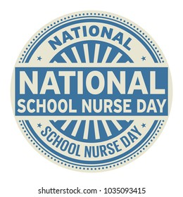 National School Nurse Day, rubber stamp, vector Illustration