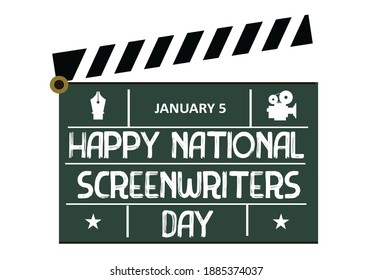 National Screenwriters Day concept. A traditional filmmaking clapper with text. Editable Clip Art.