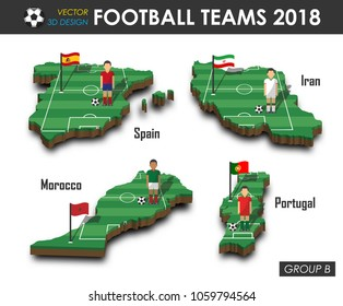 National soccer teams group B . Football player and flag on 3d design country map . isolated background . Vector for international world championship tournament 2018 concept .