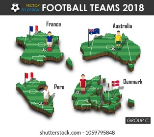 National soccer teams group C . Football player and flag on 3d design country map . isolated background . Vector for international world championship tournament 2018 concept .