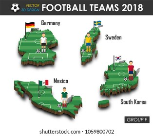 National soccer teams group F . Football player and flag on 3d design country map . isolated background . Vector for international world championship tournament 2018 concept .