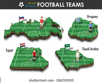 National soccer teams group A . Football player and flag on 3d design country map . isolated background . Vector for international world championship tournament 2018 concept .