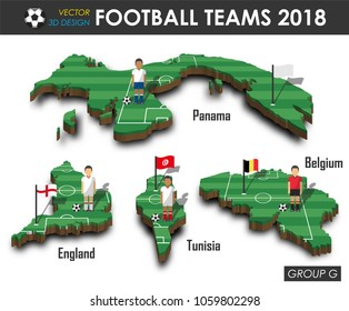 National soccer teams group G . Football player and flag on 3d design country map . isolated background . Vector for international world championship tournament 2018 concept .