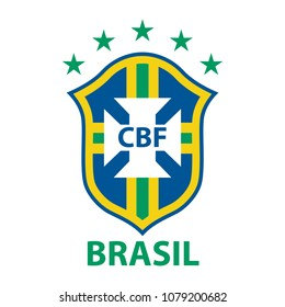 The national symbol of the Brazilian national soccer team. The logo of football association CBF of Brazil. Vector illustration.