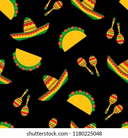 National taco day festive seamless pattern. Traditional tacos with beef, salad and tomato, bright sombreros and mexican maracas randomly ordered on black background. Vector illustration for web banner