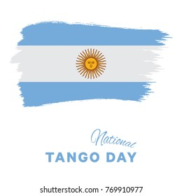 national tango day banner layout design with brush stroke flag of argentina and text