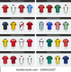 National team soccer jersey 2018 uniform group set, Football players mock-up for your presentation the match results of sport tournament in Russian, Everything is edible, resizable and color change.