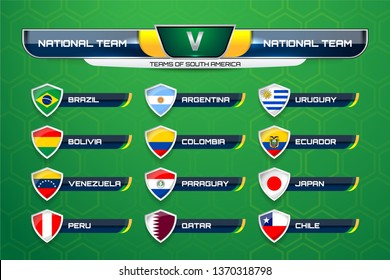 National Teams of South America with Scoreboard Broadcast and Lower Thirds Template for Soccer Tournament Championship