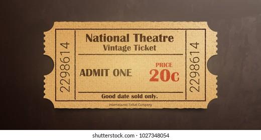 National theater vintage ticket. High detail grunge paper or cardboard.Vintage old coupon. Retro ticket template. Vector illustration.