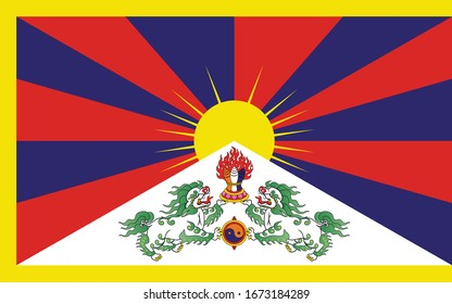 National Tibet flag, official colors and proportion correctly. National Tibet flag. Vector illustration. EPS10. Tibet flag vector icon, simple, flat design for web or mobile app.
