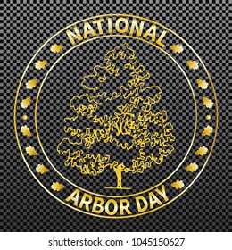 National tree planting day. Symbolic image of oak, post-stamp. Restoration of the forest, gardening of urban and suburban areas: parks, squares. On a transparent background. Vector.