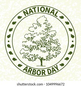 National tree planting day. Symbolic image of oak, post-stamp. Restoration of forests, gardening of urban and suburban parks, squares. On a light grunge background. Vector.